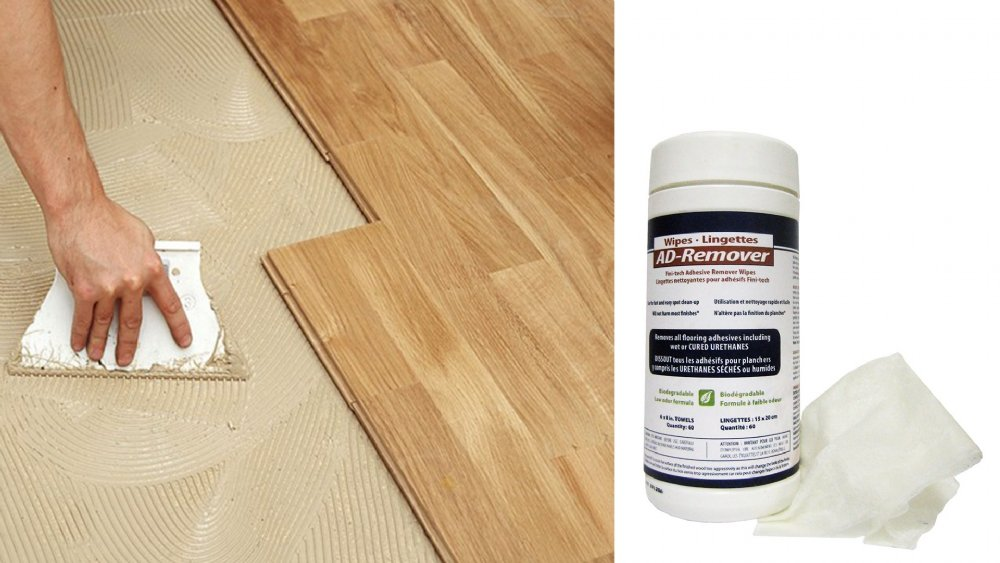 How to remove adhesive residues from wood flooring?